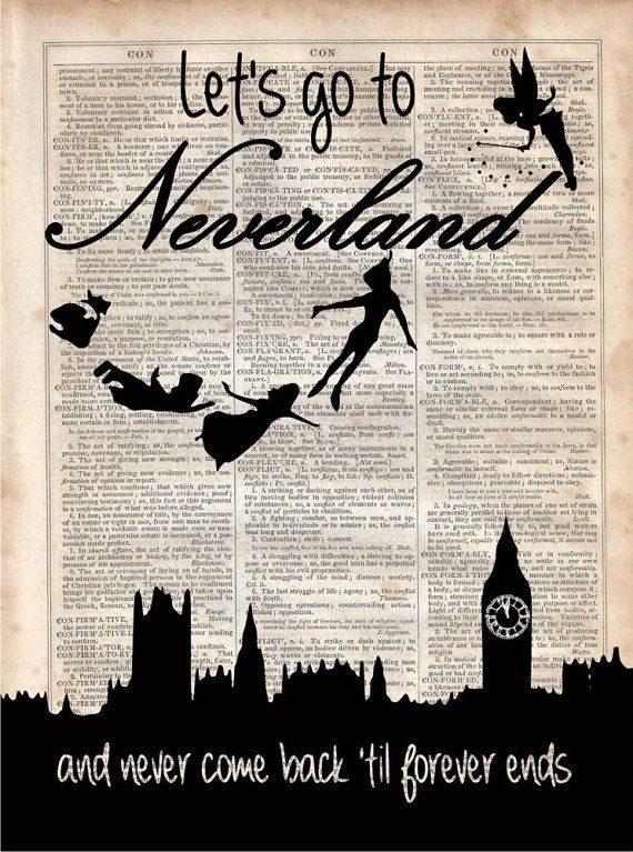 Neveryland Dictionary Art Print Vintage by MySilhouetteShoppe