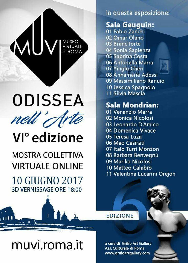 Vi presento la sesta edizione di Odissea nell'arte, la mostra virtuale online curata nel MUVI il museo virtuale indipendente di Roma  http://muvi.roma.it  Online dal 10 giugno al 1 luglio 2017
