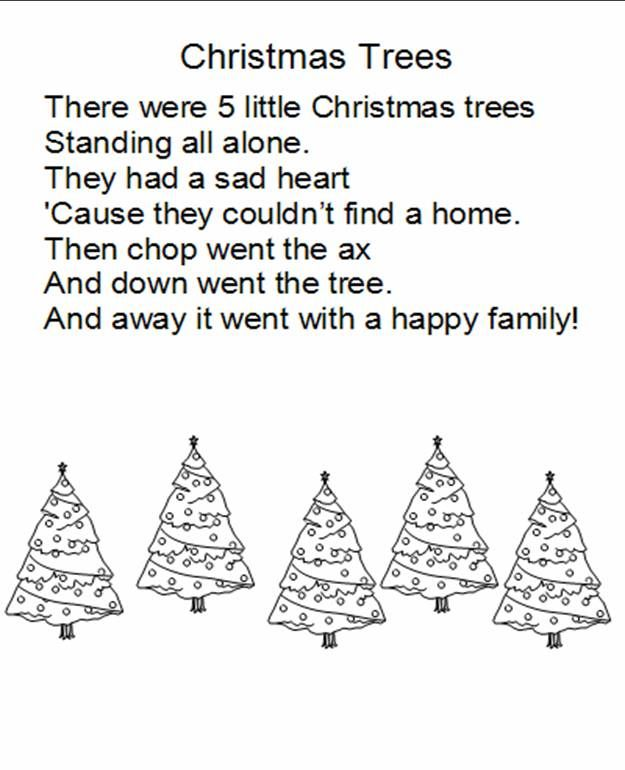 Christmas poem for kindergarten | note: to print 2 trees on the same page, change the print layout to ...