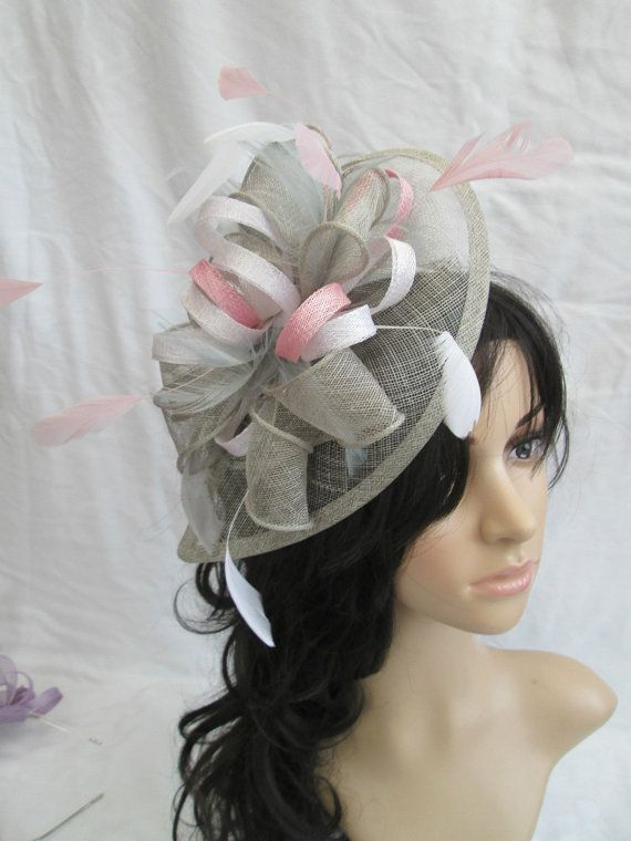 Grey Fascinator with White/pink trim  ..Sinamay and  Feather Teardrop style  with  swirls ,coque Feathers #handmade #etsyretwt