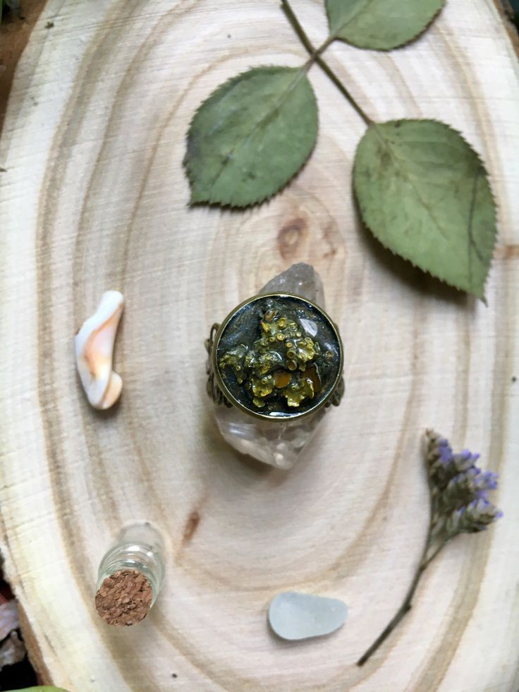 Vintage moss ring Ring with real moss in resin.  Vintage style, forest ring.