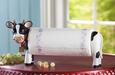 Decorative Paper Towel Holders | Decorative Country Cow Paper Towel Holder