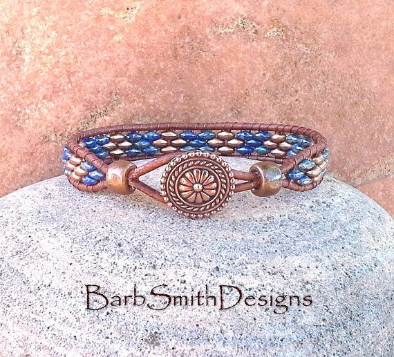 Blue Copper Leather Wrap Bracelet - The Skinny One in Copper