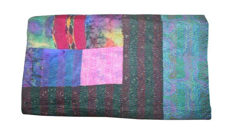 Handmade Silk Patchwork Kantha Quilt King Bed cover Blanket Bedspread #Handmade #ArtDecoStyle