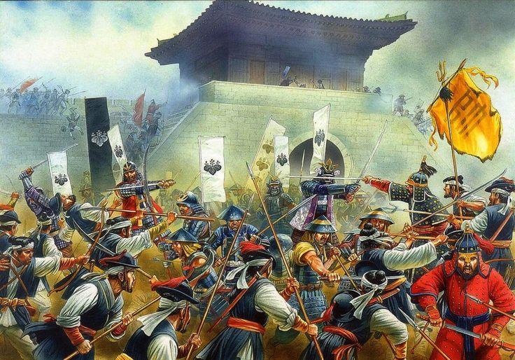 Asalto a la fortaleza de Busán, que dio inicio a la conquista de Corea por parte de Japón. En Mayo de 1592 los asaltantes escalan los muros cubiertos por disparos de arcabuces, que al igual que en Europa demostraron su superioridad sobre los arcos y flechas coreanos. Tras superar tres líneas defensivas los japoneses acaban haciéndose con el fuerte, masacrando a los soldados coreanos supervivientes y a los civiles cobijados en el mismo. Lámina cortesía de Peter Dennis. Más en…
