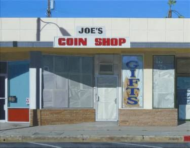 Buy Joe's Coin Shop, a Acrylic on Canvas by Michael Ward from United States. It portrays: Architecture, relevant to: shop, joe's, Cityscape, california, coin, streetscape, long beach Painting of a closed coin shop in Lakewood Village, Long Beach, CA.