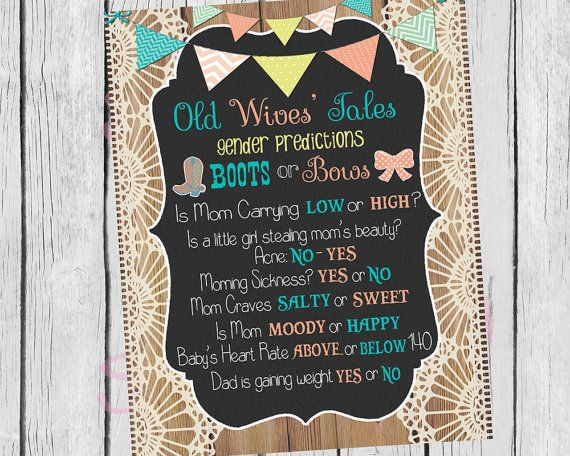 Baby Shower / Gender Reveal Old Wives Tales Gender Predictions, Boots or Bows Party Decor, DIY