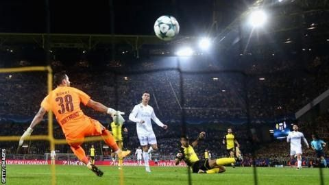 Ronaldo is the Champions League's leading scorer with 109 goals  Cristiano Ronaldo scored twice as holders Real Madrid maintained their 100% record in Group H by beating Borussia Dortmund.  The  former Manchester United man took his tally to 109 in the competition  by converting from Gareth Bale's cutback and lashing in Real's third. Welshman Bale had opened the scoring with a superb volley while Pierre-Emerick Aubameyang netted for Dortmund. The Bundesliga leaders are without a point in the…