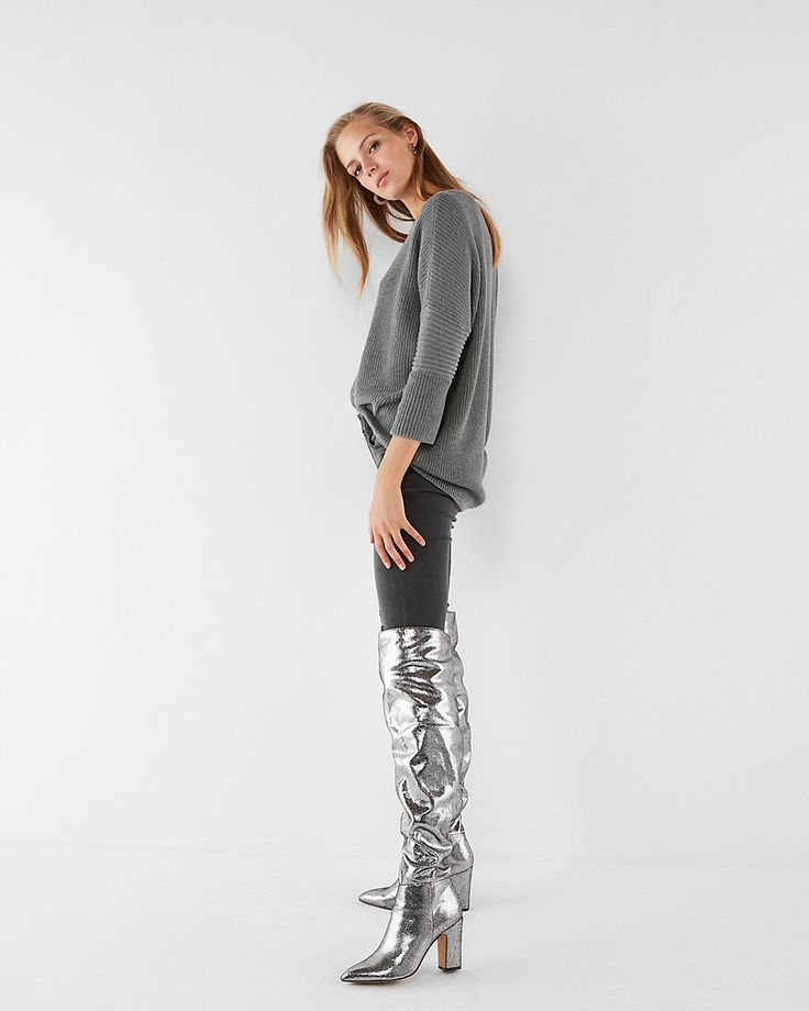 Metallic silver slouchy OTK boots