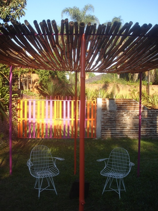 "My wire chairs on my DIY bamboo ""quincho""."