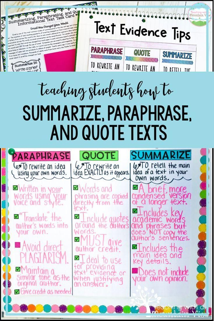 Informational Non Fiction Using Text I A Great Way To Teach Student How Correc Anchor Chart Quoting Nonfiction Texts Difference Between Summary Direct Quotation And Paraphrasing