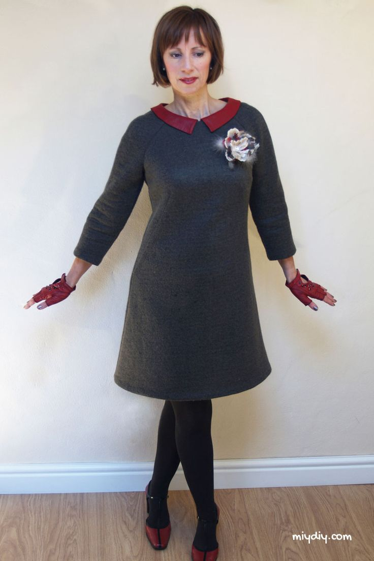 Sally's Francoise dress with faux leather collar