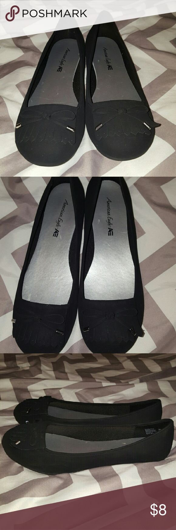 Black flats Brand new pair of black flats, velvety look and feel on the outside  (man made material). Cute fringe on top. Size 8 1/2 W. Reasonable offers welcome 😊 American Eagle by Payless Shoes Flats & Loafers