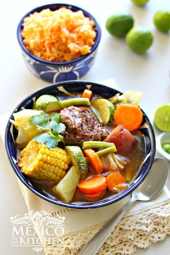 Caldo de res, cocido, puchero a Mexican beef and vegetables soup recipe