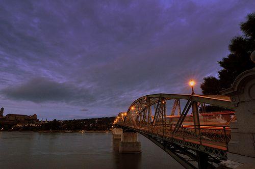Lights over Danube - Mariy Valéria bridge between Esztergom and Párkány / Sturovo.___ Esztergom, Hungary