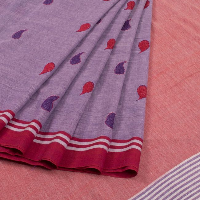 Buy online Hand Embroidered Purple Cotton Saree Without Blouse & With Kantha Work, Paisley Motifs 10014925