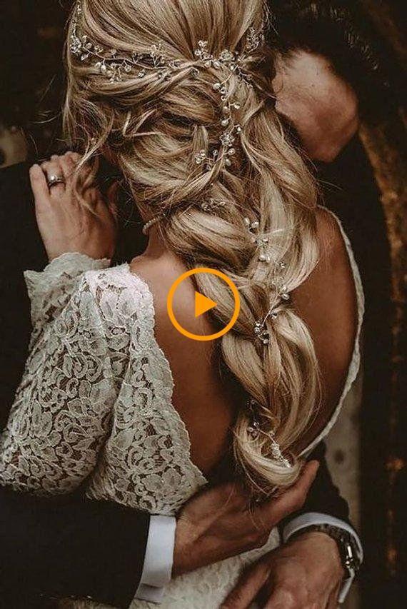Crystal and Pearl Hair Vine Extra Long Hair Vine Bridal Hair - bridal hair + ... #weddingdresses #weddingmakeup #weddinghairstyles