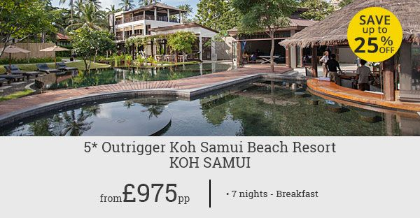 Up to 25% savings on your luxury holiday at Outrigger Koh Samui Beach Resort! Book this exclusive deal to enjoy 7 luxury nights in Koh Samui, Thailand.