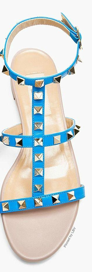 VALENTINO Blue Simple Rock Stud Flat Sandals  LBV ♥✤   KeepSmiling   BeStayExquisite