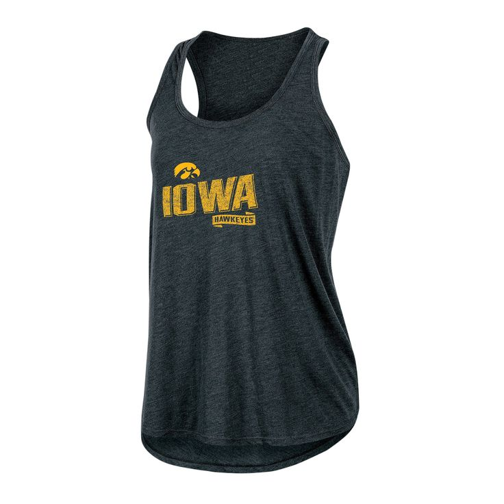 NCAA Women's Gameday Heathered Racerbank Soft Touch Poly Tank Top Iowa Hawkeyes - XL, Multicolored