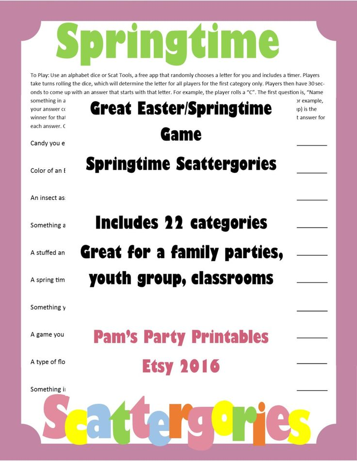 Easter Springtime Scattergories- Printable Game - Family ...