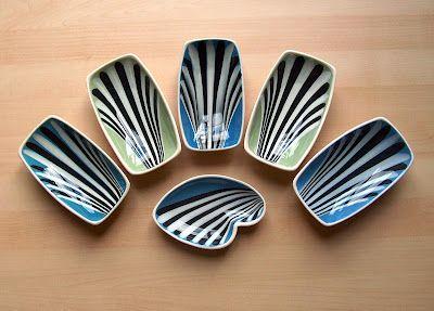 Hornsea Studio slipware pin dishes from the 1950s