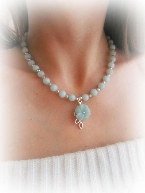 Amazonite flower necklace gemstone beaded necklace amazonite