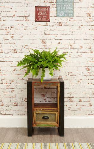 Urban Chic Lamp Table Bedside Cabinet #furniture #home #interior #decor #livingroom #lounge #bedroom #hallway #boho #bohemian #shabbychic #urban #contemporary #bedside #cabinet #plant #brick