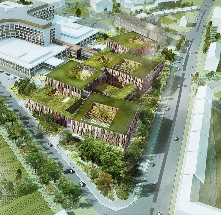 New hospital in Helsingborg by aarhus arkitekterne #hospital #danisharchitecture #scandinavianarchitecture #greenarchitecture #aarhusarkitekterne