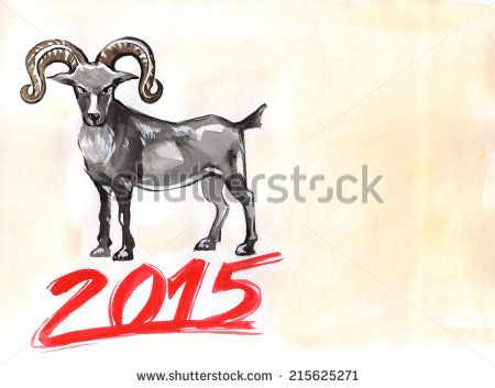 #Watercolor #Chinese #NewYear #2015 #Goat #Horoscope sign