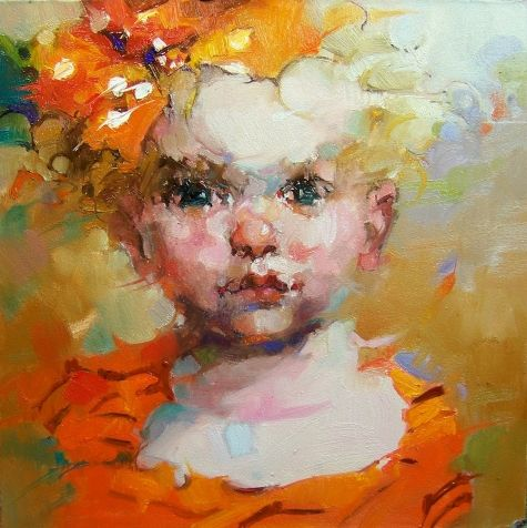 Little Miss, original painting by artist Kim Roberti | DailyPainters.com