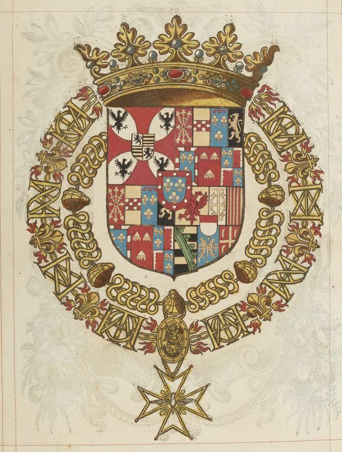 «Ludovic Gonsague, duc de Nevers, Pair de France, prince de Manthoue, con[seill]er d'Estat, Cappitaine de cent hommes d'Armes des ordonna[nces] et gouverneur de Champaigne», chevalier des deux ordres du roi (f°19r) -- «Recueil de tous les chevaliers de l'ordre du Saint Esprit», par le sr de Valles, 1631 [ms fr  2769]