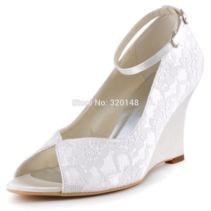 Cheap Mujer Zapatos de Cuña Blanco Marfil Peep Toe Zapato con Cierre de Tacón Alto Bombas de Encaje de Damas de Honor Novia de la Boda Zapatos de Fiesta Por la Noche WP1415, Compro Calidad Bombas de las mujeres directamente de los surtidores de China:                                               100% Nueva Marca de Las Mujeres Cuñas   de alta Calidad de Encaje de Noche