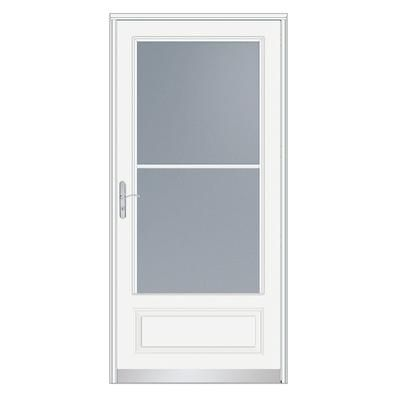 Emco 32 inch width 400 series self storing white door for Home depot exterior doors canada