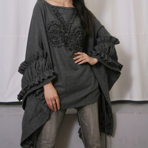 Dark Grey Gray Pure Wool Cape Poncho Cloak Coat Batwing Victorian Bolero