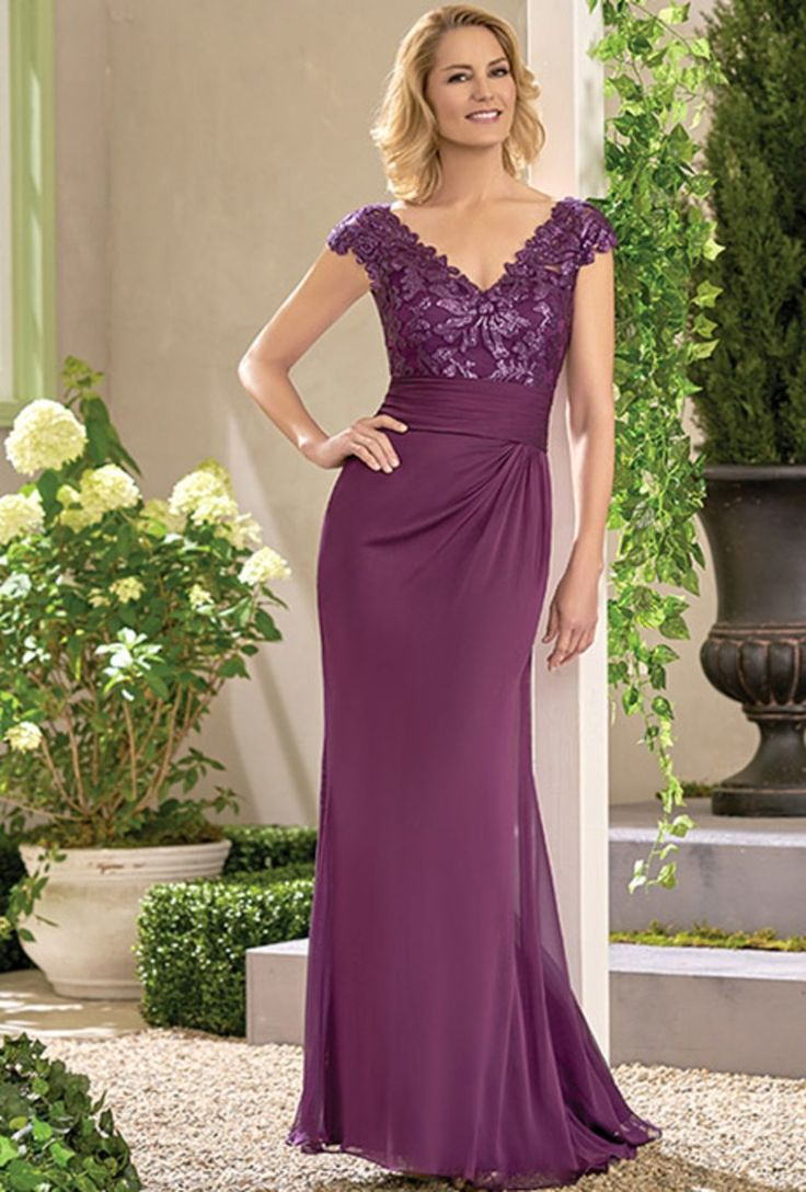 Paillette Embroidered Lace/Jade Tiffany Chiffon with Stretch lining dress with a portrait neckline and gathered bodice. Embroidered lace, cap sleeves and flare skirt with gathers - all in the color bordeaux. Plus size available.