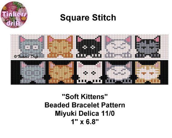 Soft Kittens Square Stitch Beaded Bracelet Pattern by TinkersDrift