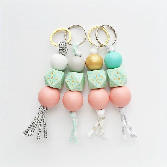 MA CHERIE modern handpainted keychain - geo middle - wood bead keychain, tassel keychain, zipper pull, wooden bead zipper pull