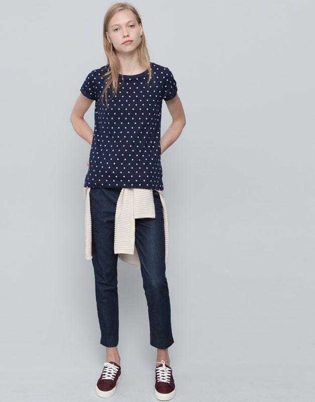 Pull&Bear - donna - camicie e top - maglietta print pois - blu marino - 05240324-I2015