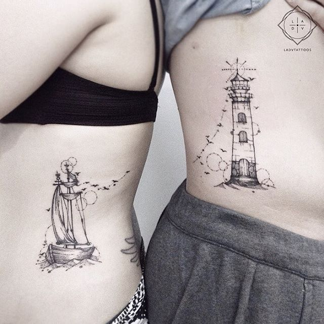 """461 Likes, 8 Comments - Lidya Adventa (@ladvtattoos) on Instagram: """"Little sailing ship and a lighthouse is how they see each other. Couple tattoo with bird trails to…"""""""