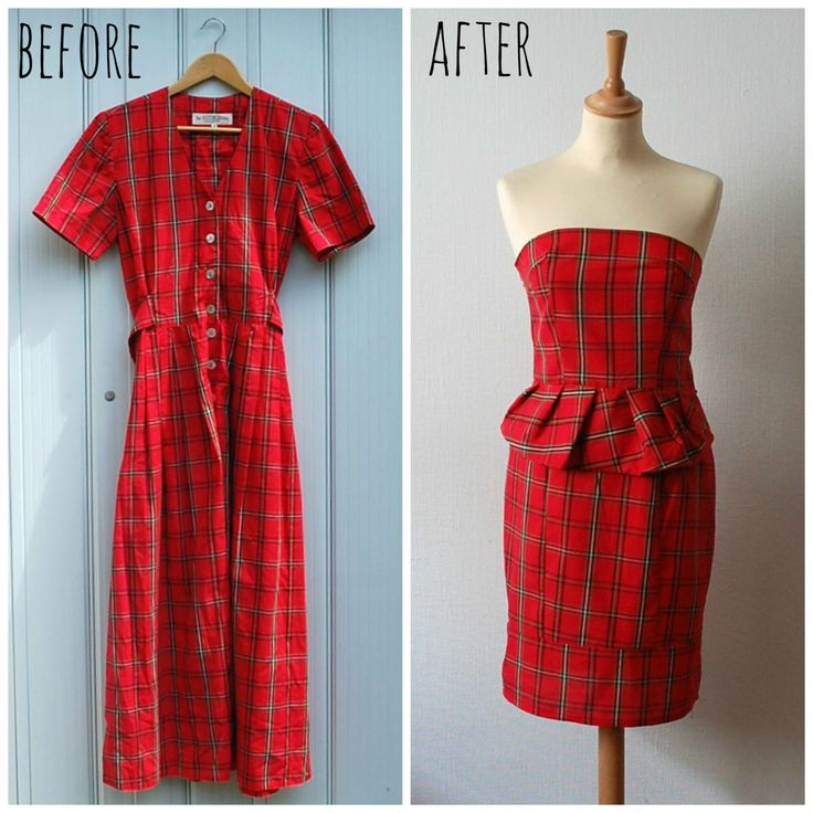 Vintage Refashion Red Plaid Peplum Strapless Dress, Women's Size M/L by CamilleVintage on Etsy