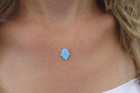 Hand necklace Gold necklace Opal hamsa necklace by HLcollection, $27.00