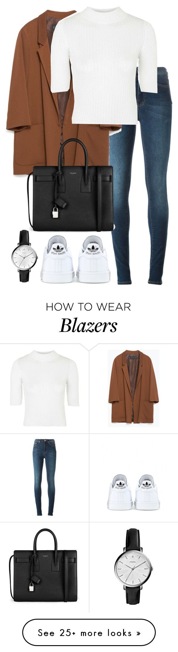"""Untitled #2342"" by elenaday on Polyvore featuring Acne Studios, Zara, Topshop, adidas, Yves Saint Laurent and FOSSIL"