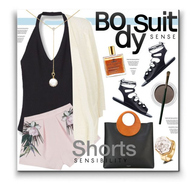 """Bodysuit"" by watereverysunday ❤ liked on Polyvore featuring Style Stalker, Damsel in a Dress, Renee Lewis, Michael Kors, Ancient Greek Sandals, Nuxe, Clarins, Shiseido, shorts and WhatToWear"
