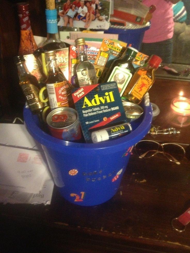 21 Birthday Gift Basket For Him : Boyfriends st birthday barf bucket everything