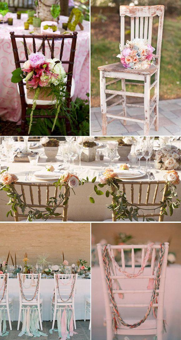Ideas para decorar las sillas de la boda wedding decor ideas pinterest vintage ideas para - Mesas decoradas para bodas ...