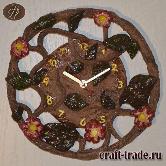 Керамические настенные часы Лиана - авторская керамика ручной работы в интернет магазине Рукоделец