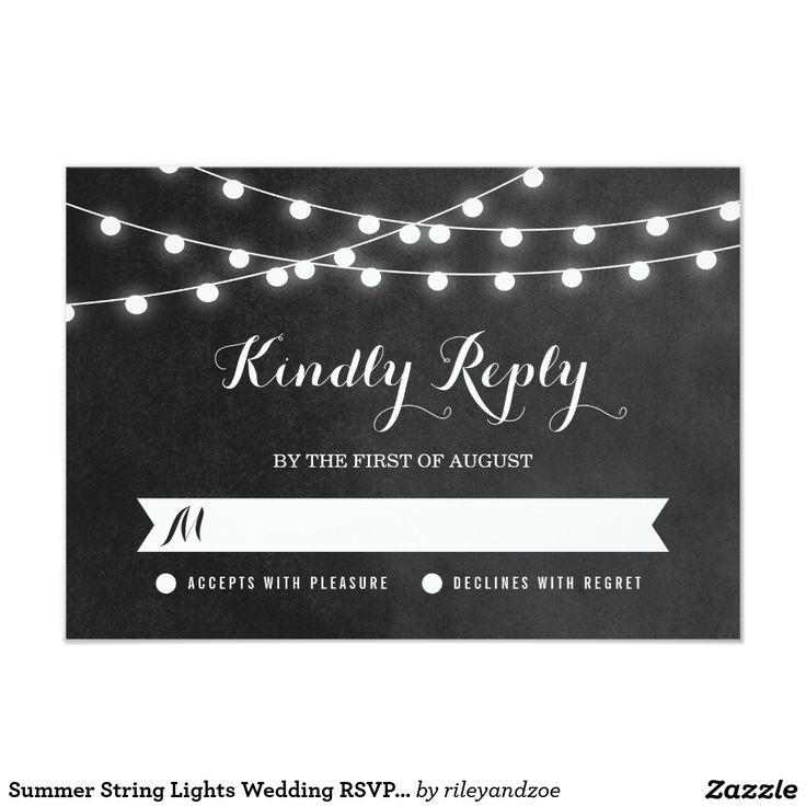 creative wedding response cards%0A Summer String Lights Wedding Rsvp Card  summer  string  lights  wedding   rsvp