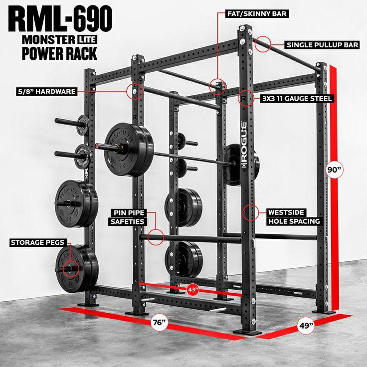 Rogue RML-690 Power Rack - Monster Lite - Weight Training