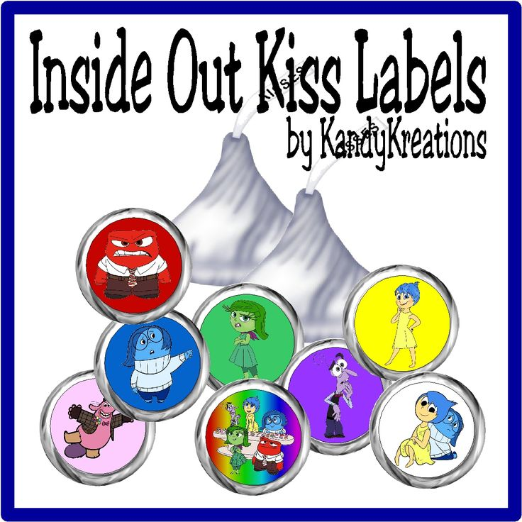 Enjoy the little voices in your head with these sweet Hershey kiss printable labels.  The kiss labels with the characters of Inside Out will definitely fill you with joy when you serve them up at your next party.